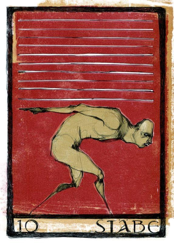 Tarotkarten: 10 der Stäbe