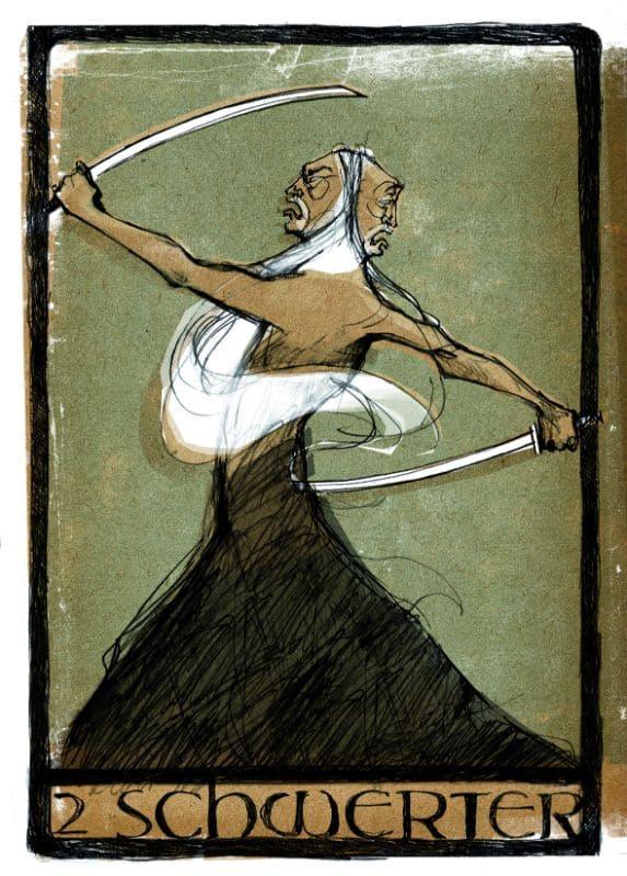 Tarotkarten: 2 der Schwerter