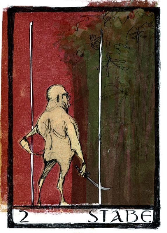 Tarotkarten: 2 der Stäbe