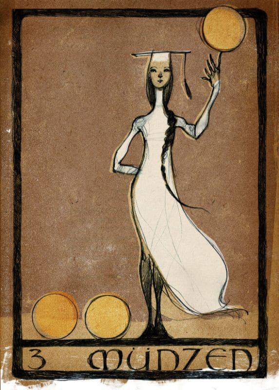 Tarotkarten: 3 der Münzen