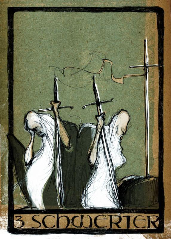 Tarotkarten: 3 der Schwerter
