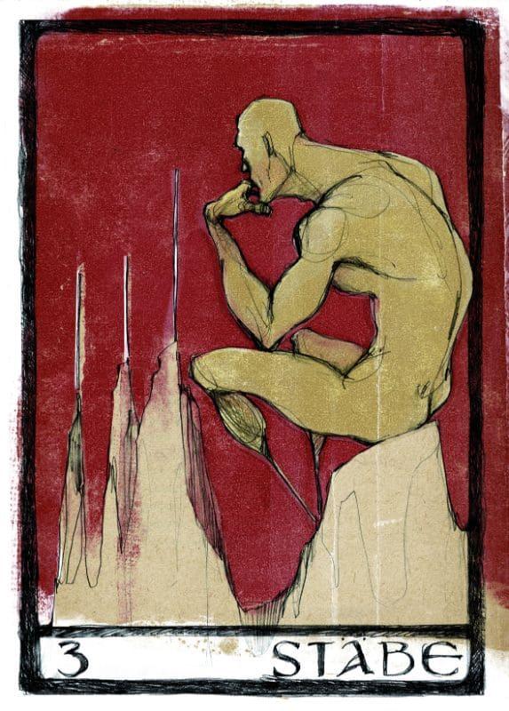 Tarotkarten: 3 der Stäbe
