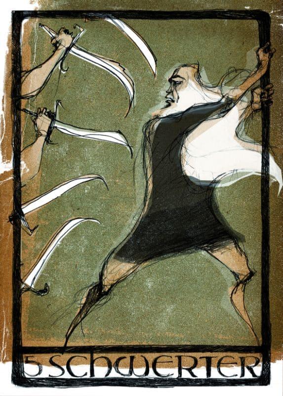 Tarotkarten: 5 der Schwerter