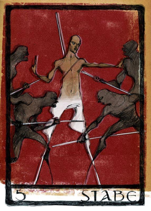 Tarotkarten: 5 der Stäbe