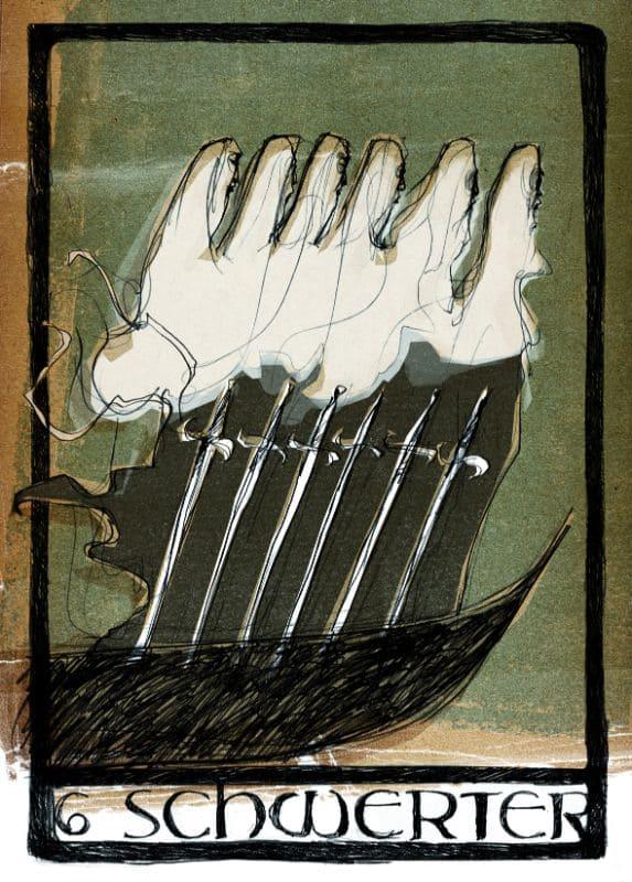 Tarotkarten: 6 der Schwerter