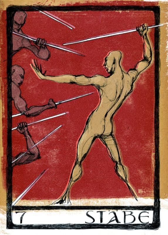 Tarotkarten: 7 der Stäbe