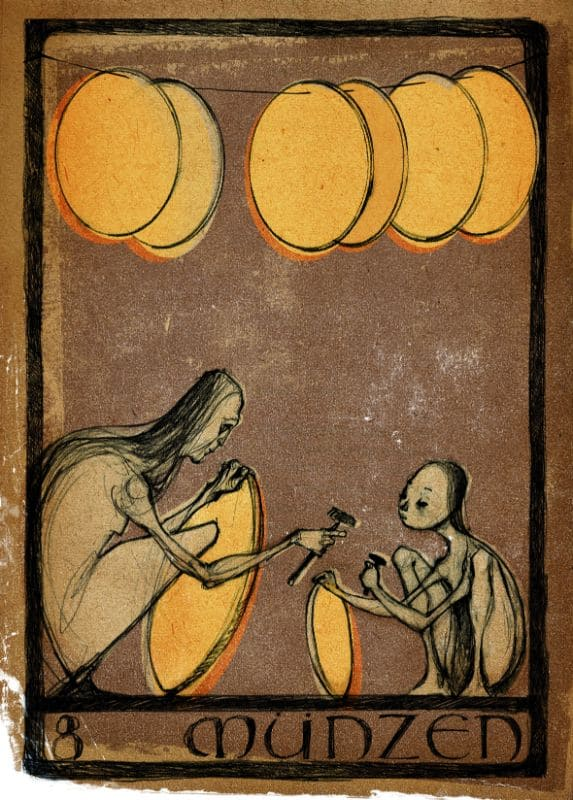 Tarotkarten: 8 der Münzen