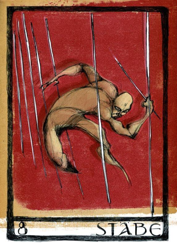 Tarotkarten: 8 der Stäbe