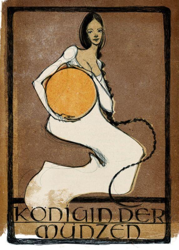 Tarotkarten: Königin der Münzen